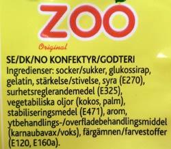 Zoo ingrediensförteckning