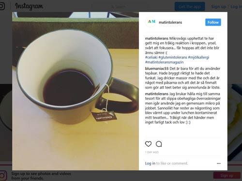 Blogginlägg: Mikrovågsupphettat te triggade en matallergi/matintolerans reaktion