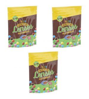 Matvarning: Nötallergiker och baljväxtallergiker se upp, Dazzleys Chocolate Lenses kan innehålla spår av jordnötter, mandlar och hasselnöt