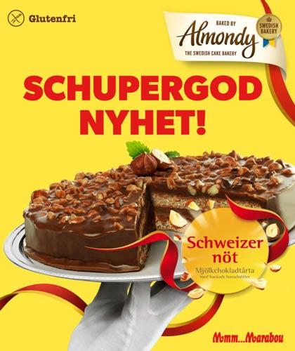 Mattips: Glutenfri mandeltårta med Marabou Schweizernöt smak