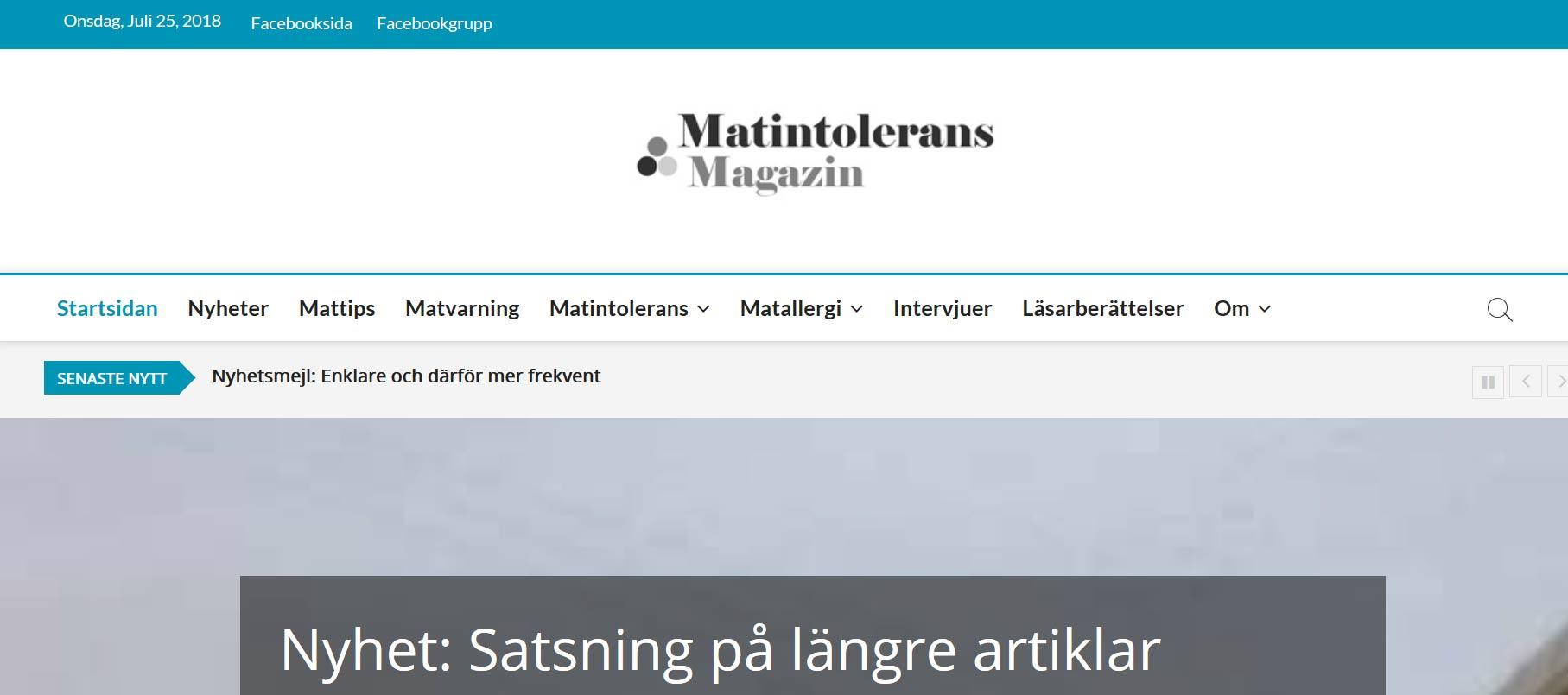 Nyhet: Ny fräsch design på Matintolerans Magazin